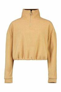 Womens Cropped Fleece O-Ring Drawstring Sweat - Beige - M, Beige