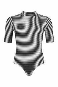 Womens Striped Rib Roll/Polo Neck Body - Black - 14, Black