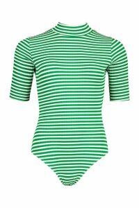 Womens Striped Rib Roll/Polo Neck Body - Green - 14, Green