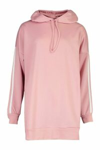 Womens Side Stripe Extreme Oversize Hoody - Pink - 16, Pink