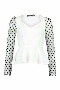 Womens Organza Spot Top - White - 16, White