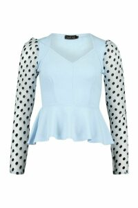 Womens Organza Spot Top - Blue - 12, Blue