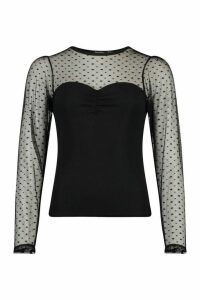 Womens Dobby Mesh Sleeve Ruched Detail Top - Black - 14, Black