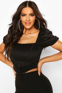 Womens Puff Sleeve Boned Corset Top - Black - 16, Black