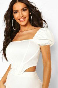 Womens Puff Sleeve Boned Corset Top - White - 14, White