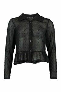 Womens Dobby Mesh Frill Hem Shirt - Black - 10, Black