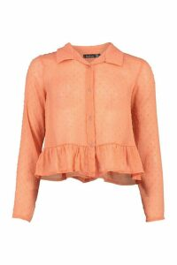 Womens Dobby Mesh Frill Hem Shirt - Orange - 8, Orange