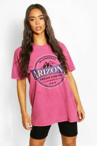 Womens Arizona Washed Slogan T-Shirt - Pink - M, Pink