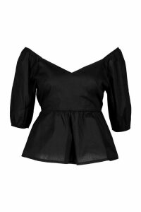 Womens Cotton V Neck Puff Sleeve Peplum Top - Black - 14, Black