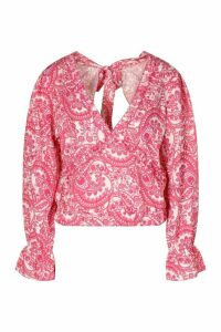Womens Paisley Open Back Frill Detail Top - Pink - 16, Pink
