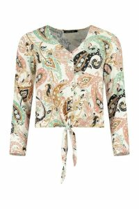 Womens Paisley Knot Front Shirt - Pink - 16, Pink