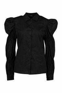 Womens Puff Sleeve Shirt - Black - 8, Black