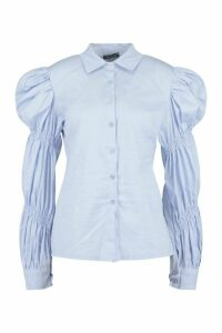 Womens Puff Sleeve Shirt - Blue - 14, Blue