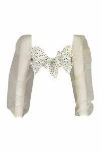Womens Satin Polka Dot Organza Tie Front Crop Top - White - 16, White