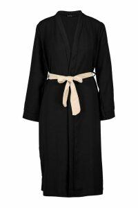 Womens Contrast Belt Kimono - Black - M, Black