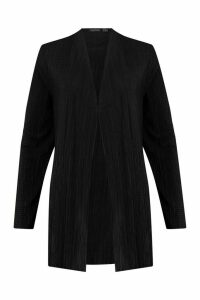 Womens Pleated Plisse Kimono - Black - 14, Black