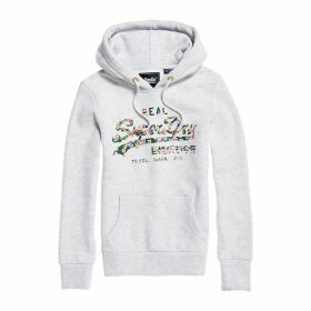Cotton Mix Hoodie with Floral Logo and Kangaroo Pocket