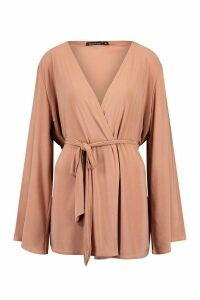 Womens Wide Sleeve Belted Kimono - Pink - M, Pink