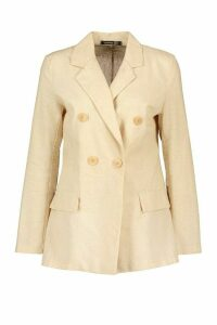 Womens Tall Linen Look Pocket Blazer - Beige - 18, Beige
