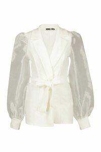 Womens Tall Organza Sleeve Blazer - White - 16, White