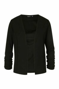 Womens Ruche Sleeve Jersey Blazer - Black - 14, Black