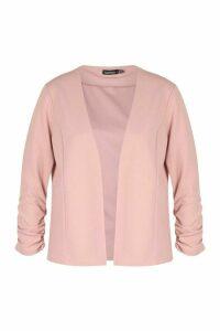 Womens Ruche Sleeve Jersey Blazer - Pink - 14, Pink