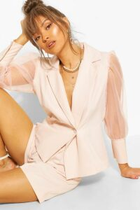 Womens Organza Puff Sleeve Tailored Blazer - Pink - 14, Pink