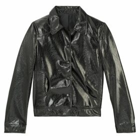 Cropped Vinyl Faux Leather Jacket with Peter Pan Collar