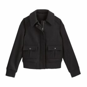 Short Wool Mix Jacket with Pockets