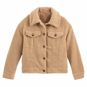 Teddy Faux Fur Jacket with Pockets and Faux Tortoiseshell Buttons
