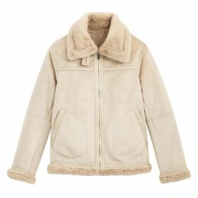 Faux Suede Aviator Jacket with Faux Fur Lining and Pockets