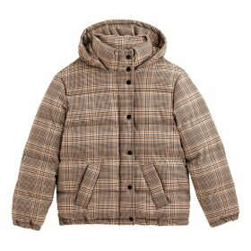 Checked Padded Puffer Jacket with Hood and Pockets