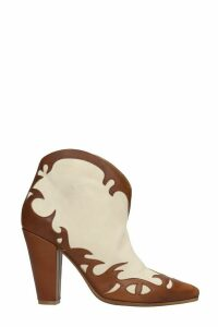 Golden Goose Michelle Flower Texan Ankle Boots In Beige Suede And Leather