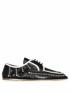 Prada two-tone woven-effect loafers - Black