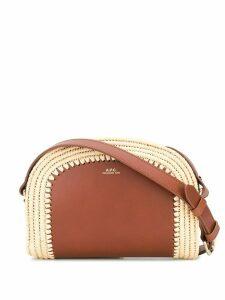 A.P.C. Demi-Lune raffia trim cross-body bag - Brown