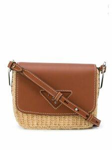 Prada crochet logo plaque shoulder bag - Brown