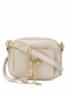 See by Chloé embossed logo crossbody bag - NEUTRALS