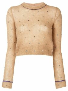 Nº21 cropped fitted sweater - NEUTRALS
