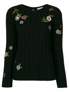 RedValentino embroidered ribbed jumper - Black
