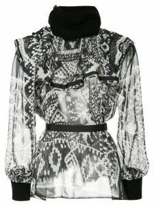 Sacai printed ruffle rib trim blouse - Blue