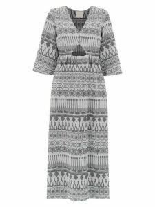 Framed printed long dress - SILVER