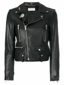 Saint Laurent zipped fitted biker jacket - Black