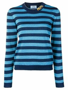 Prada striped logo knit sweater - Blue