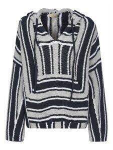 Maison Flaneur Rib Knit Striped Hoodie