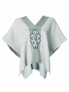 Voz V-neck draped sleeved top - Grey