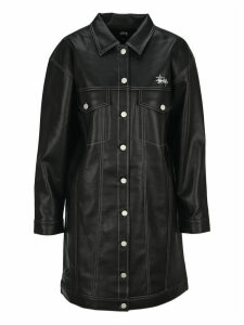 Stussy Faux-leather Single-breasted Coat
