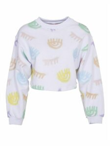 Chiara Ferragni Crop Sweatshirt With Multicolor Print