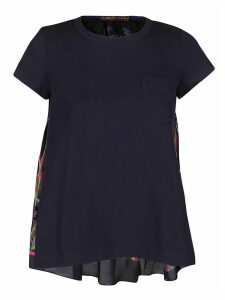 Sacai Blue Cotton Printed T-shirt
