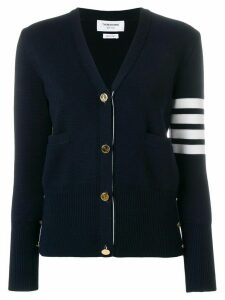Thom Browne Milano Stitch V-Neck Merino Cardigan - Blue