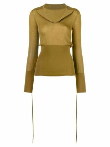 Jacquemus plunge neck knitted top - Green
